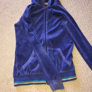 purple/blue colored zip up hoodie